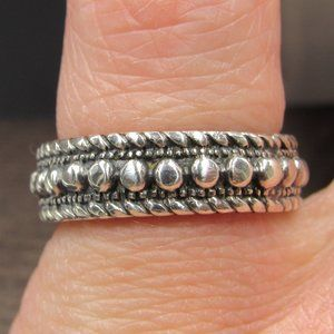 Size 5.75 Sterling Cool Orb & Braid Pattern Band